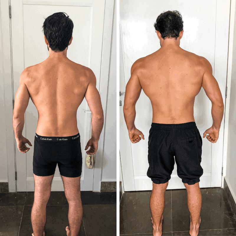 antes y despues ganar musculo keto